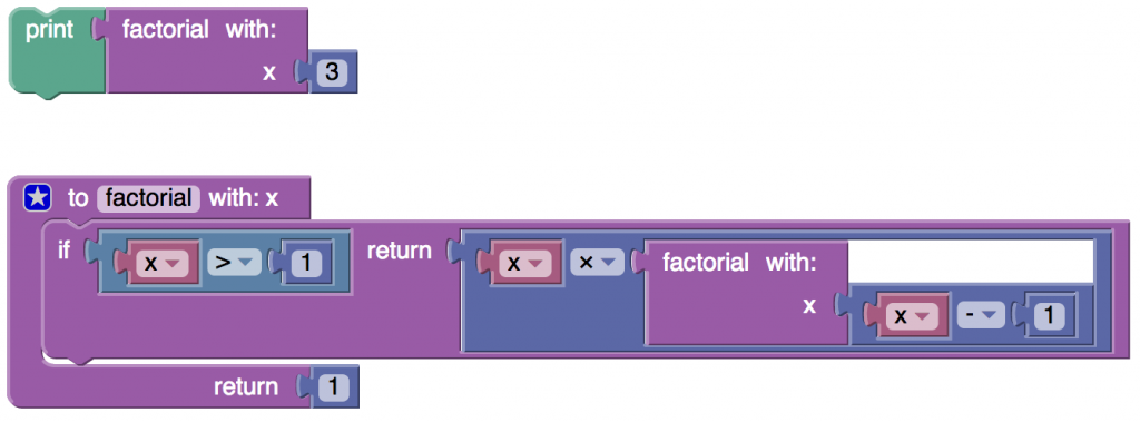 Blockly program to compute a factorial