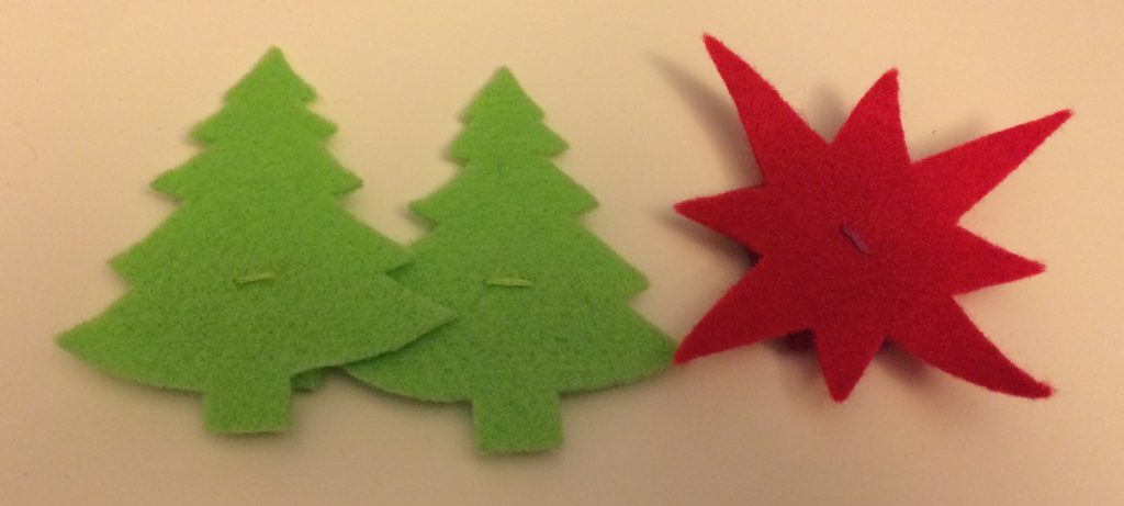Felt fir trees for glowy Christmas badges