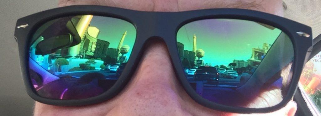 Las Vegas Strip reflected in my sunglasses