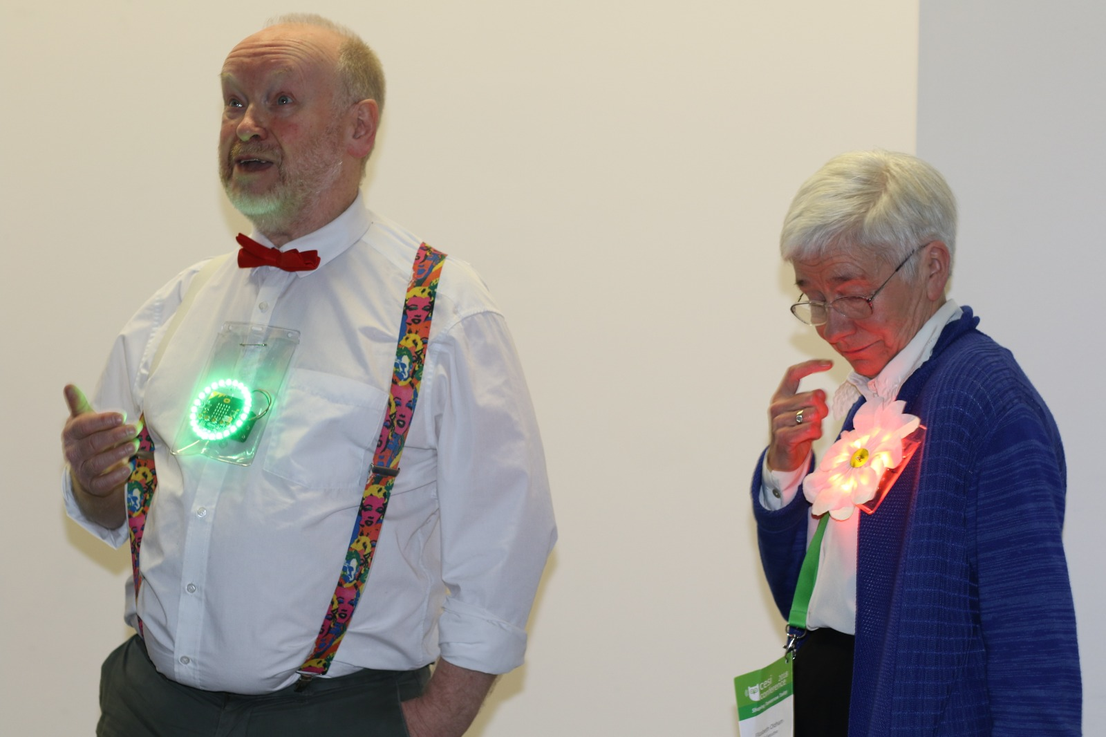 Richard Millwood and Elizabeth Oldham presenting at CESI conference 2018 with voting wearables