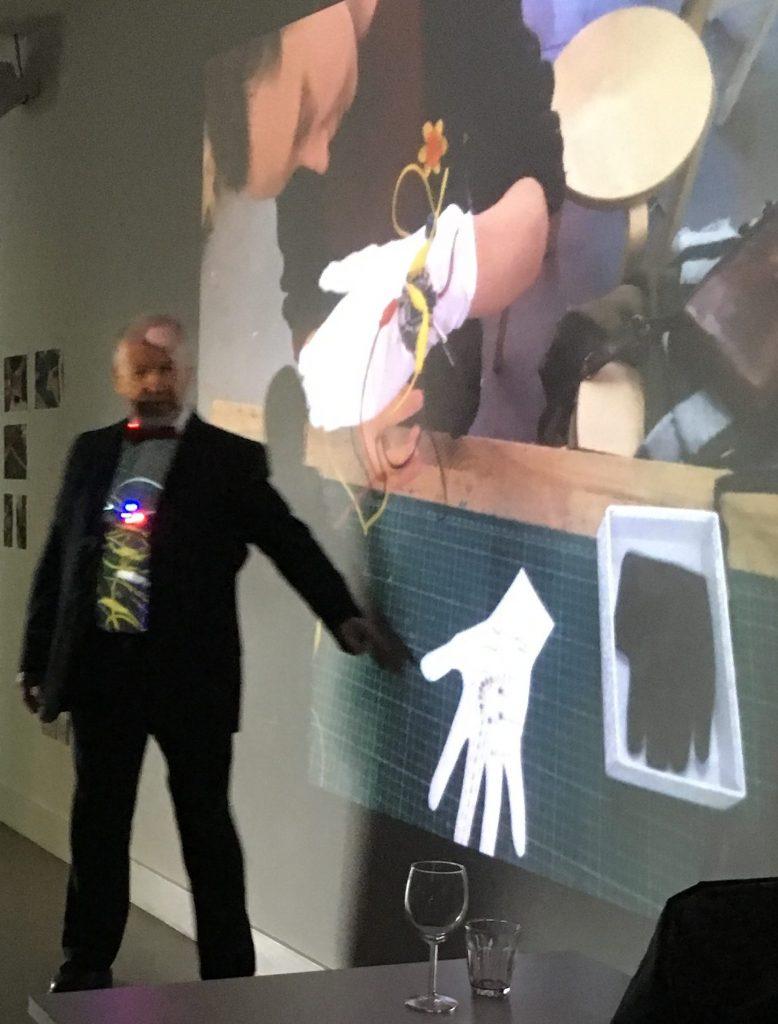 Richard explaining Doireann Wallace's musical glove at the Wearable Electronics Workshop exhibition April 26 2017